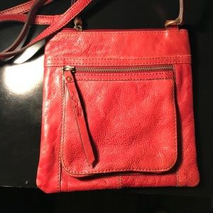 Dark red leather fossil bag NEVER USED
